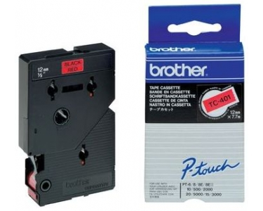 Labeltape Brother P-touch TC401 12mm zwart op rood