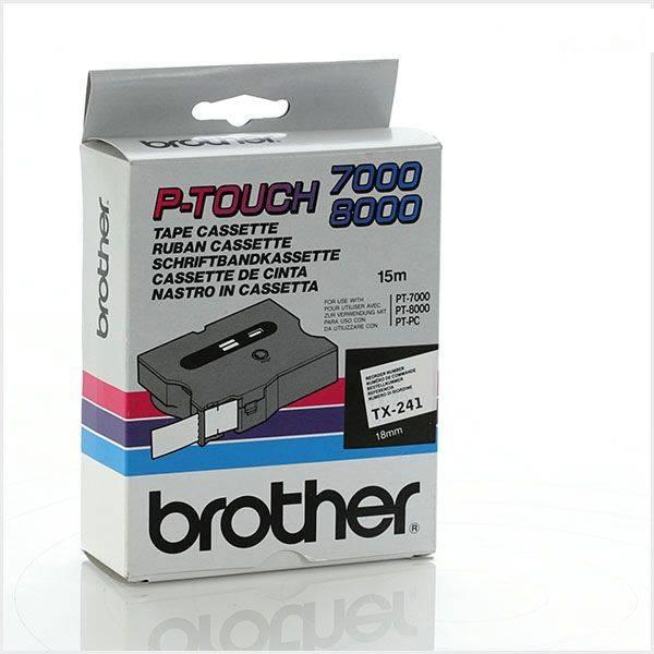 LABELTAPE BROTHER TX-241 18MMX8M WIT-ZWART