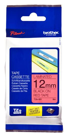 Labeltape Brother P-touch TZE431 12mm zwart op rood