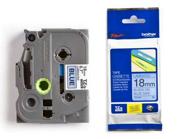 Labeltape Brother P-touch TZE541 18mm zwart op blauw
