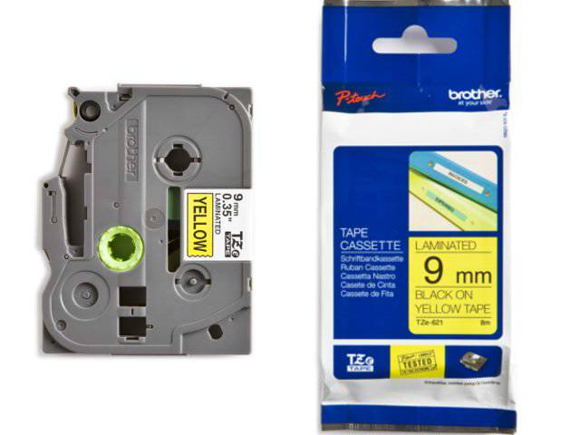 Labeltape Brother P-touch TZE621 9mm zwart op geel
