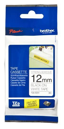 Labeltape Brother P-touch TZES231 12mm zwart op wit